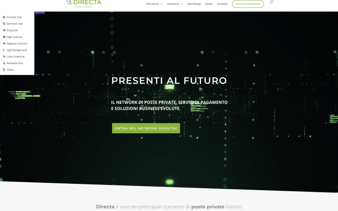 homepage del sito directa con finestra per l'accessibilità