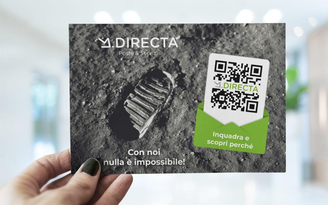 """Impronta del primo uomo sulla luna testo """"Con noi nulla è impossibile"""" e qrcode per la scansione con smartphone"""